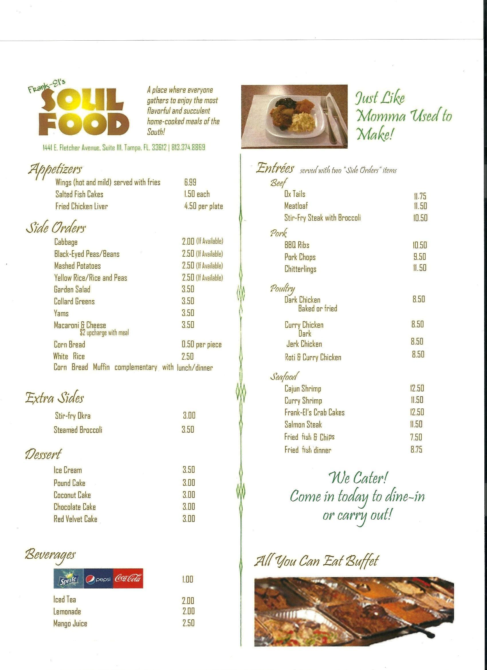 Soul Food Wedding Menu
